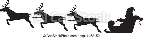 Clipart Vector of Santa Claus riding on a reindeer sleigh ...