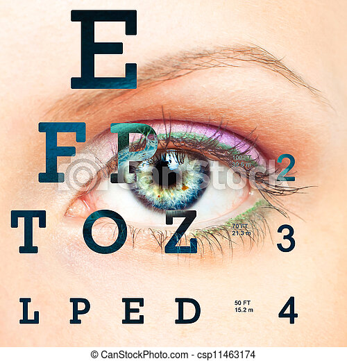 Eye with test vision chart - csp11463174