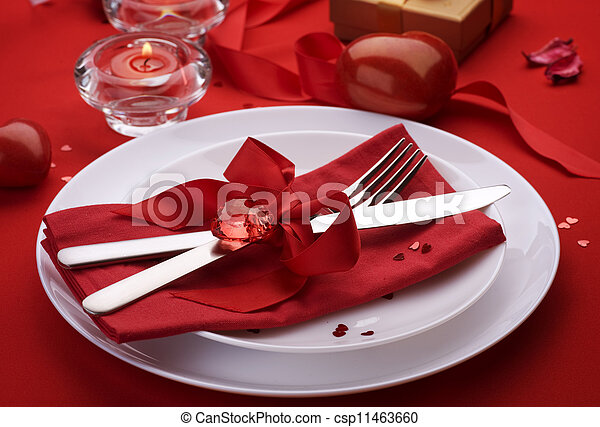 Romantic Dinner. Place setting for Valentine's Day - csp11463660