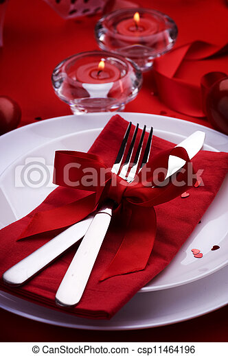Romantic Dinner. Place setting for Valentine's Day - csp11464196