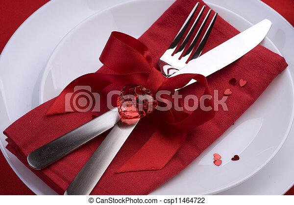 Romantic Dinner. Place setting for Valentine's Day - csp11464722