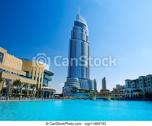 DUBAI, UAE - NOVEMBER 29: Address Hotel and Lake Burj Dubai on Nov 29, 2011 in Dubai. Located in Downtown Dubai, overlooking the world?s tallest tower, Burj Khalifa and attached to The Dubai Mall - csp11464743