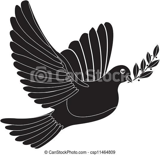 Vector Clipart of peace dove - Illustration - black silhouette of ...