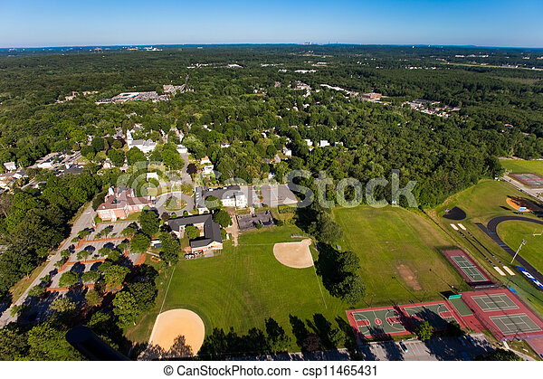 Aerial view of green field - csp11465431