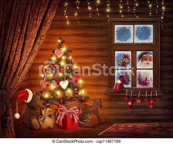 Room with christmas tree - csp11467189