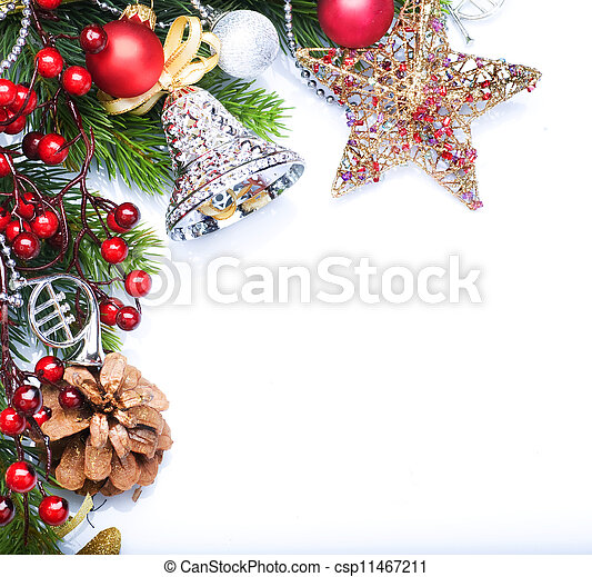 Christmas border design over white - csp11467211