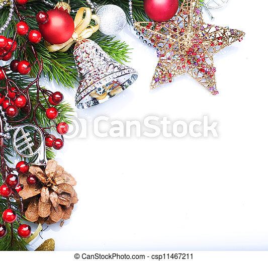 Christmas border design over white - csp11467211