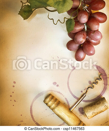 Wine Border Design Over Vintage Paper Background - csp11467563