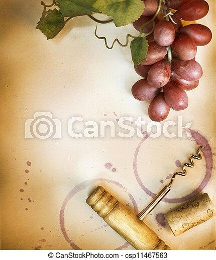 vendemmia, sopra, carta, disegno, fondo, bordo, vino - csp11467563