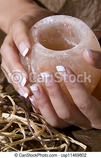 Woman%u2019s hand with French manicure - csp11469802