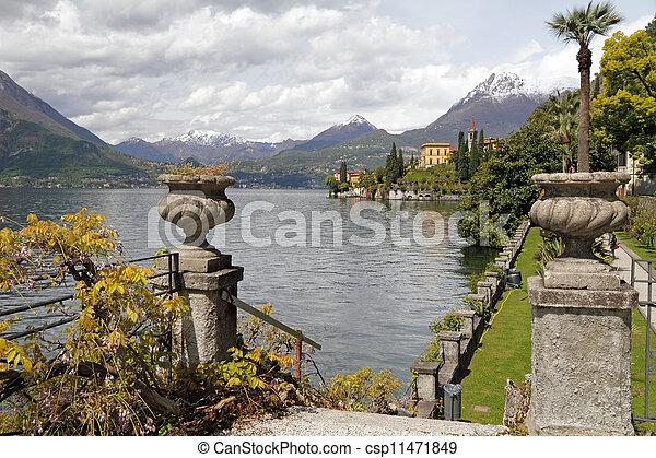 fantastic landscape of lake Como seen from garden of Villa Monastero, Varenna, Lombardy, Italy, Europe - csp11471849