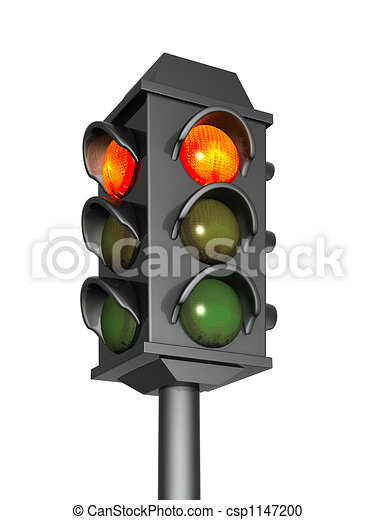 3d traffic light with a burning red signal - csp1147200