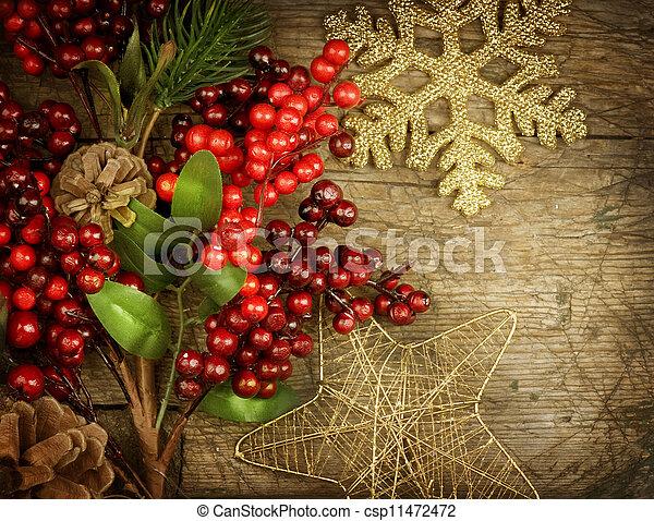 Christmas Vintage decoration border design over old wood background - csp11472472