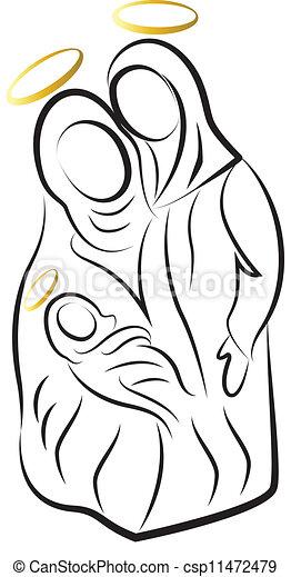 Nativity scene silhouette vector - csp11472479