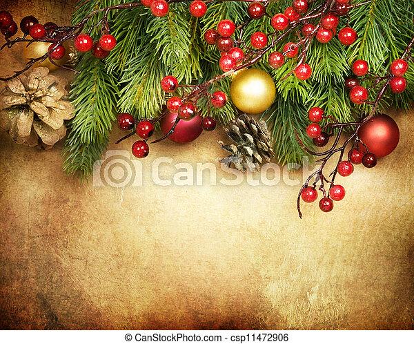 ボーダー, デザイン, クリスマス, カード, レトロ - csp11472906