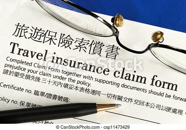 Travel insurance claim form - csp11473429