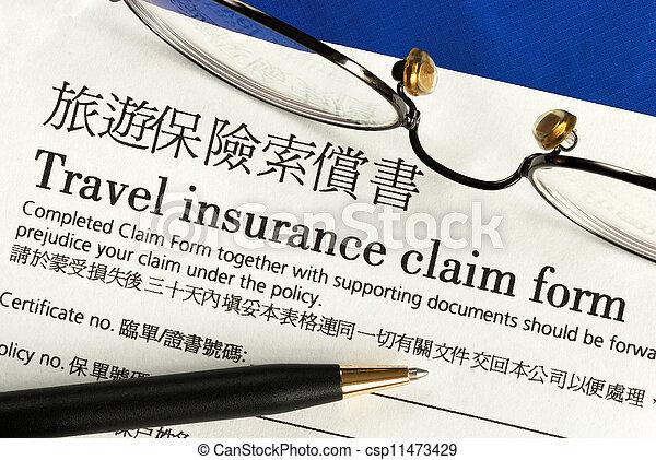 Travel insurance claim form - csp11473429