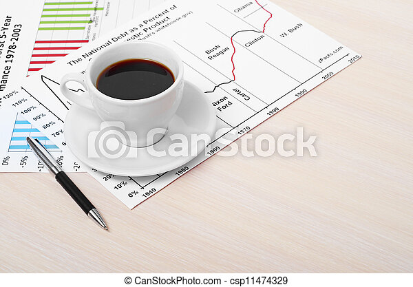 Accounting. Cup of coffee on document. chart and diagram - csp11474329