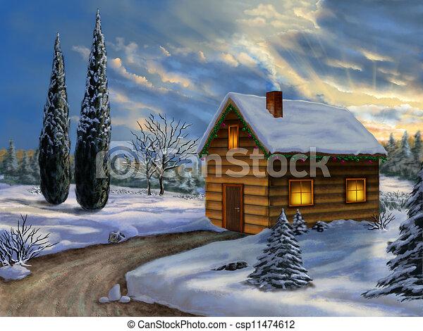 Clipart di natale paesaggio legno cabina in for Piani di cabina e cottage