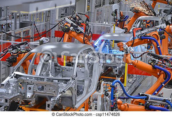 svetsning, fabrik, robotarna - csp11474826