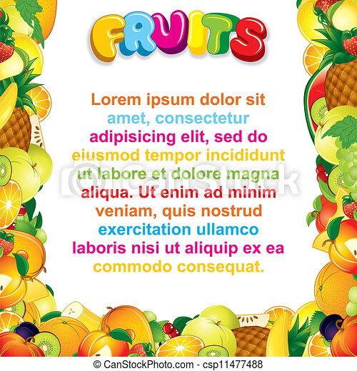 Vector of Juicy Fruits Background - Juicy Fruits Border, Vector ...