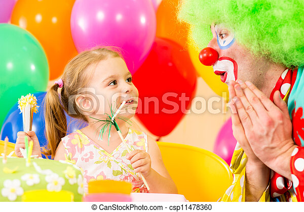 happy child girl with clown on birthday party - csp11478360