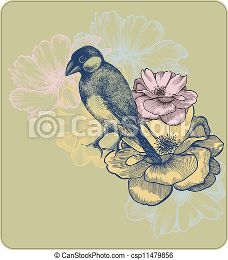 Vector illustration of birds and blooming roses, hand-drawing. - csp11479856