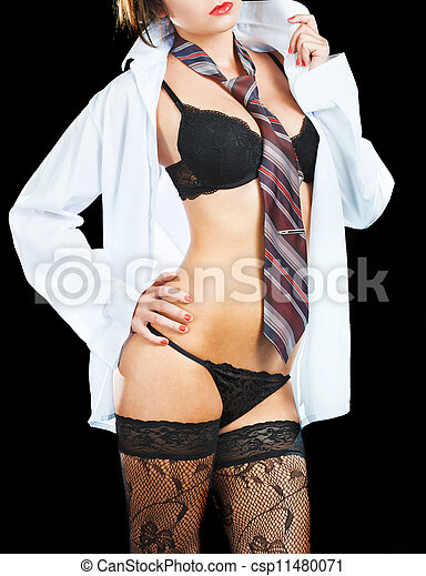 Sexy woman in erotic lingerie over dark background - csp11480071