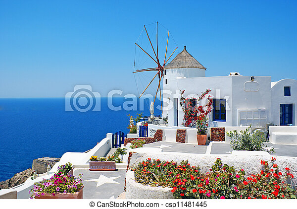 Traditional architecture of Oia village at Santorini island in Greece  - csp11481445