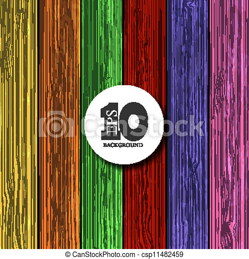 Vector colorful wooden background with place for your text. Eps10 - csp11482459