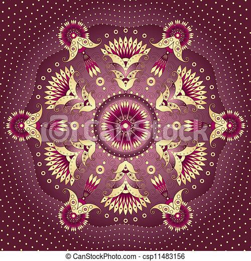 Gold-purple round frame  - csp11483156