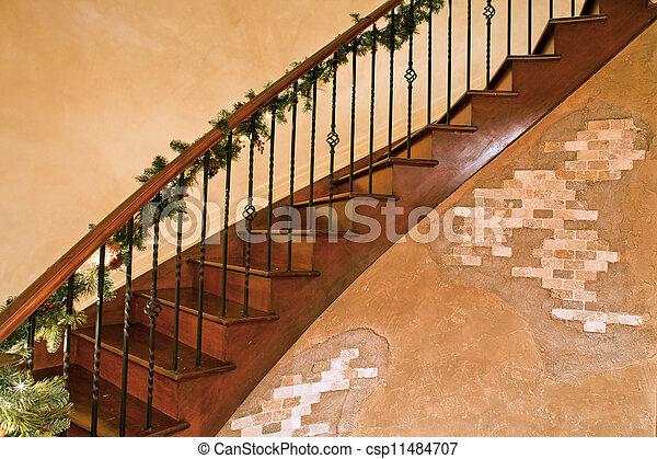 photographies de d coration no l escalier escalier no l d coration csp11484707. Black Bedroom Furniture Sets. Home Design Ideas
