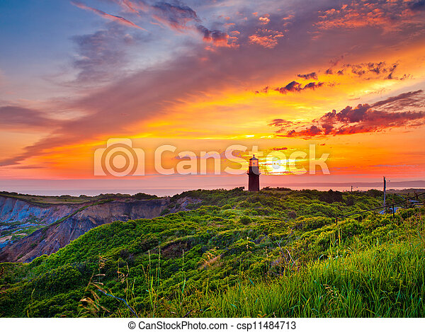 sunset at a lighthouse - csp11484713
