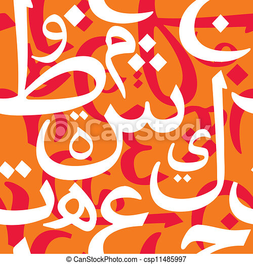 Vector - Arabic Letters Seamless Pattern - stock illustration, royalty ...