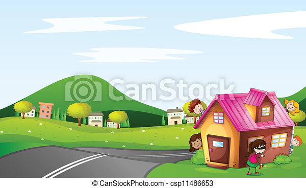 Kids House Drawing Vector Kids And a House
