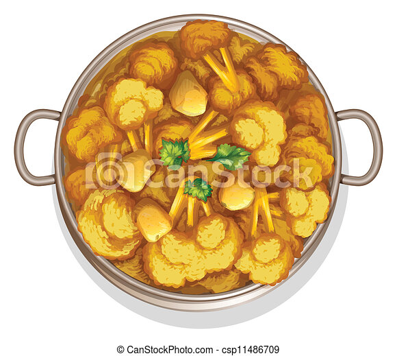 Vector clipart of food illustration of indian food on a for Art of indian cuisine
