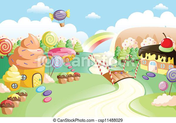 Fantasy sweet food land - csp11488029