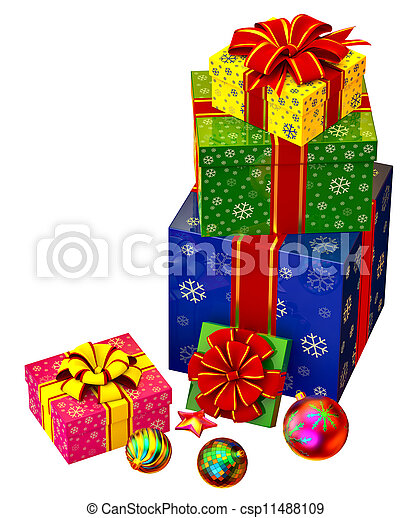 Christmas tree toys and set of gifts with red bows - csp11488109