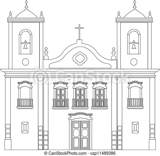 Vector of Church - Colonial church outline illustration