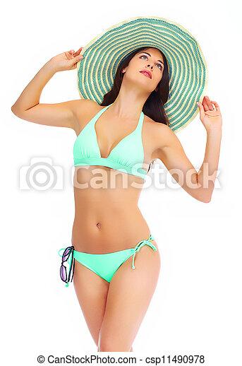 Beautiful woman in bikini on a white background. - csp11490978