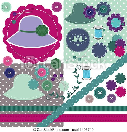 scrapbook set of objects on white - csp11496749