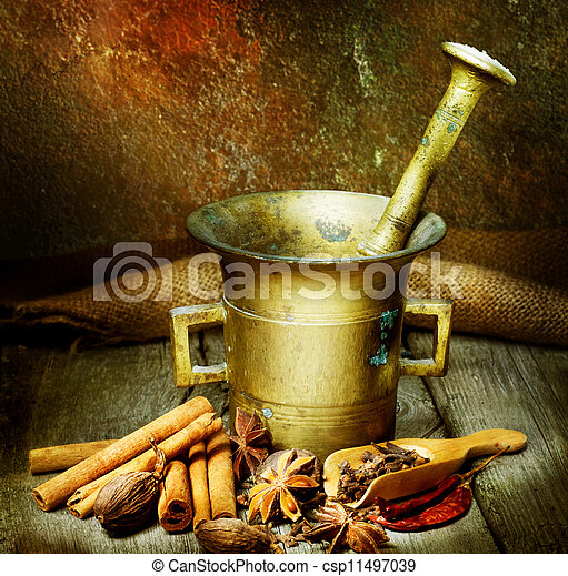 anticaglia, mortaio, spezie, pestello - csp11497039