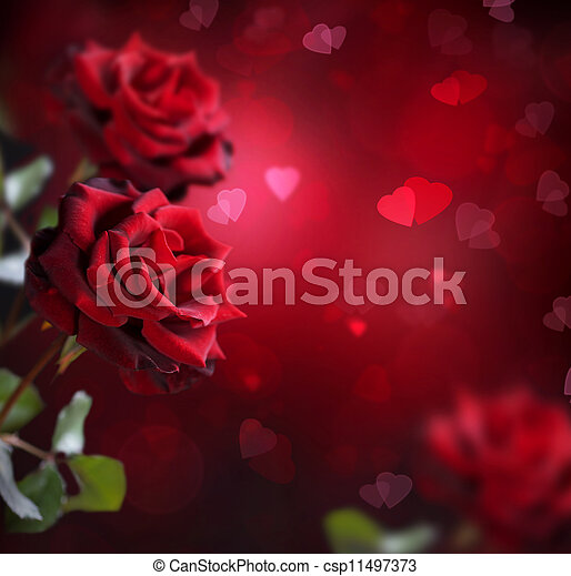 Valentine or Wedding Card. Roses and Hearts - csp11497373