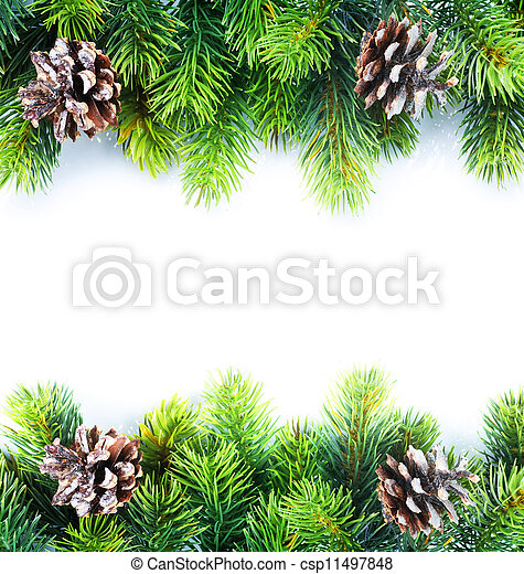 Christmas Fir Tree Border - csp11497848