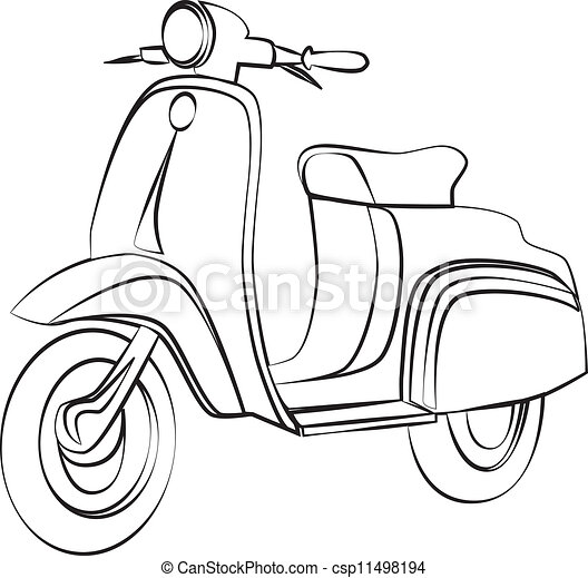 how to draw a moped