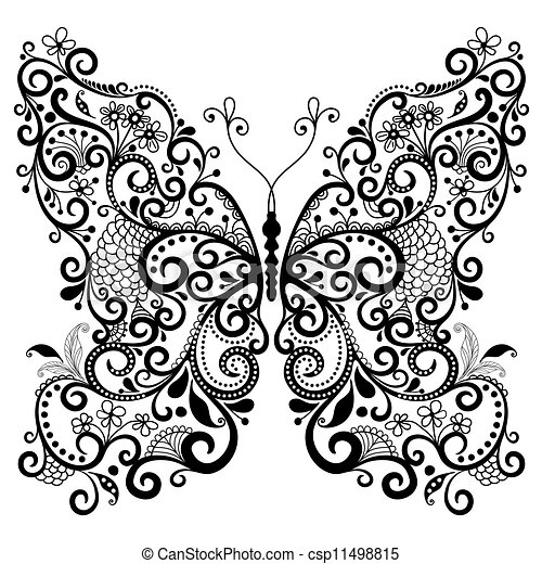 Decorative fantasy butterfly - csp11498815