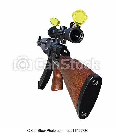 Ak, 47, primero, persona, Kalashnikov, francotirador, aislado, blanco ...