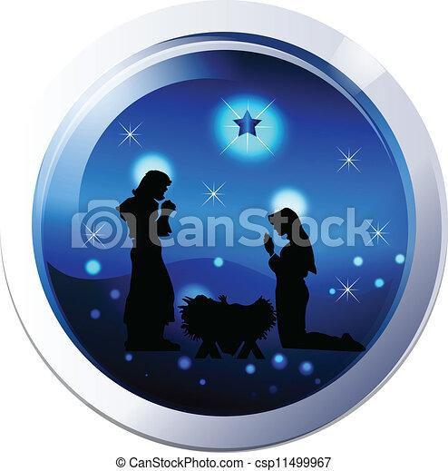 Clip Art Vector of Nativity scene silhouette vector - Nativity family ...