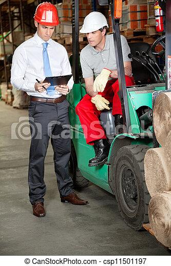 倉庫, 駕駛員, 鏟車, 監督人 - csp11501197