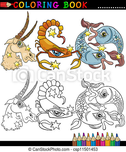 Fantasy animals characters for coloring - csp11501453